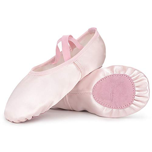 Soudittur Girls Satin Ballet Slippers Pink Split Sole Dance Flats Gymnastic Shoes for Children Kids/Women and Ladies (Please Choose One Size Larger Than Usual Wear)