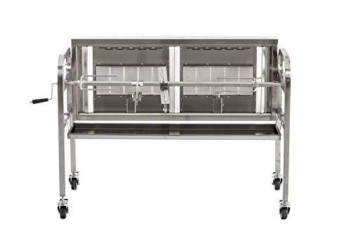 CLP Edelstahl Spanferkel-Grill MADOC mit Motor | inkl. Abdeckhaube | 2 gasbetriebene Grillflächen | Belastbarkeit bis 50 kg Silber