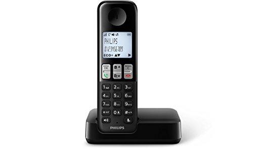 Philips D2301B/38 schnurloses Telefon (4,6 cm (1,8 Zoll) Display, HQ Sound, Privatsphären-Modi) schwarz