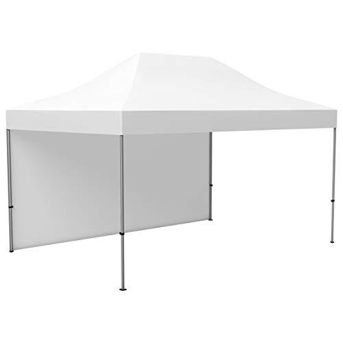 Vispronet Profi Faltpavillon/Faltzelt Basic 3x4,5 m - Weiß, inkl. 1 Zeltwand, Zeltdach & Volant, Abspann-Set (weitere Farben & Größen zur Auswahl)