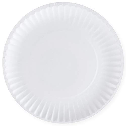 [500 Pack] Bulk Disposable White Uncoated Paper Plates, 9 Inch Large