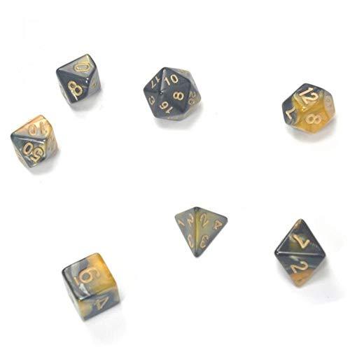 Fijnere 7-delige dobbelstenen set met neveleffect poker VeelvlakkigeTRPG-spellen Dungeons & Dragons RPG-spel dobbelstenen, geel zwart