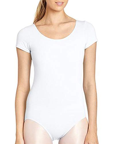 Grouptap Frauen Kurzarm Rundhals mädchen tanzen Ballett Gymnastik Trikot weiß Erwachsene Kinder Damen größe Gymnastik Dress Sleeved Outfit (Weiß, 130-150 cm)