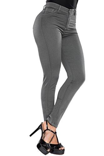 Curvify Butt Lift Stretch Denim Skinny Colored Jeans | Gray Skinny Pants Women (Gray 14 838)