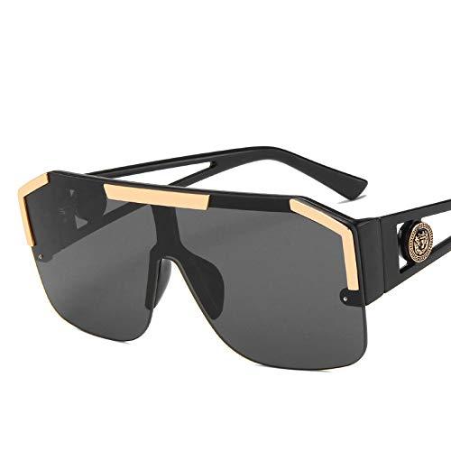 WANGZX Gafas de Sol de Gran tamaño para Mujer Gafas de Sol de una Pieza con Degradado sin Marco Semi Gafas de Sol de conducción al Aire Libre Gafas a Prueba de Viento Negro Gris
