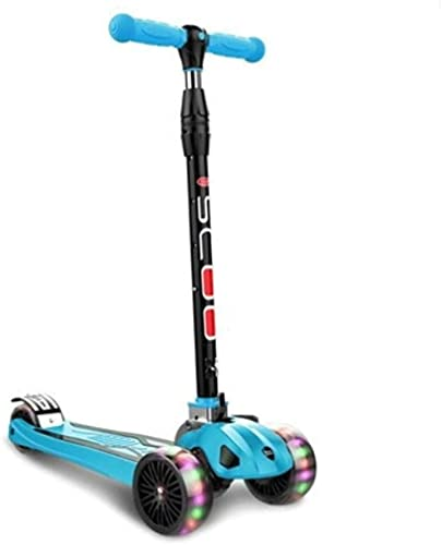 RSTJ Scooter para niños Amortiguador de Ruedas Grande para niños pequeños con Altura Plegable, Ajustable, Ilumina 3 Ruedas (Color : Blue)