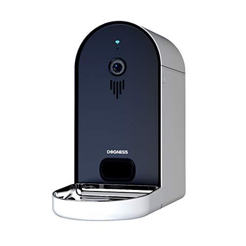 DOGNESS Automatischer Futterautomat mit Kamera und Audioübertragung, Smarter 6L WLAN Futterspender für Trockenfutter, App, Lautsprecher und Mikrofon, Futternapf für Hunde, Katzen und mehr (Schwarz)
