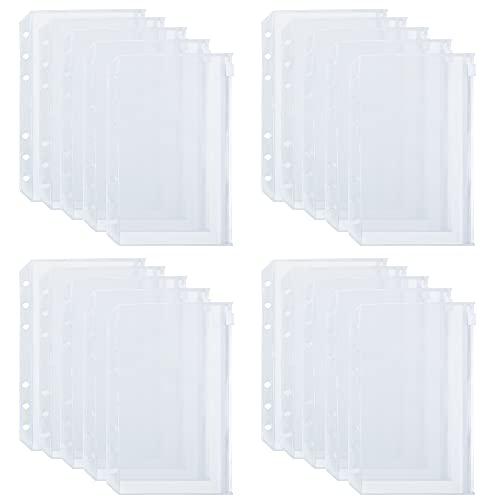 Bolsas de Carpeta de 6 Agujeros de Tamaño A6 Carpetas de Cremallera de Plástico Translúcidas Impermeables para Documentos de Archivos Cuadernos Tarjetas (20 Piezas)
