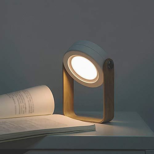 Lámpara de Mesa Plegable LED Lámpara de Noche portátil con Mango de Madera, 3 Brillos Regulables y luz Nocturna de Carga USB para Leer, Acampar, Dormitorio