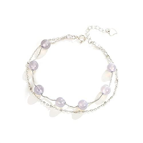 Pulsera doble de piedra lunar natural Pulsera de cristal de fresa fresca de plata esterlina Pulsera de piedra lunar
