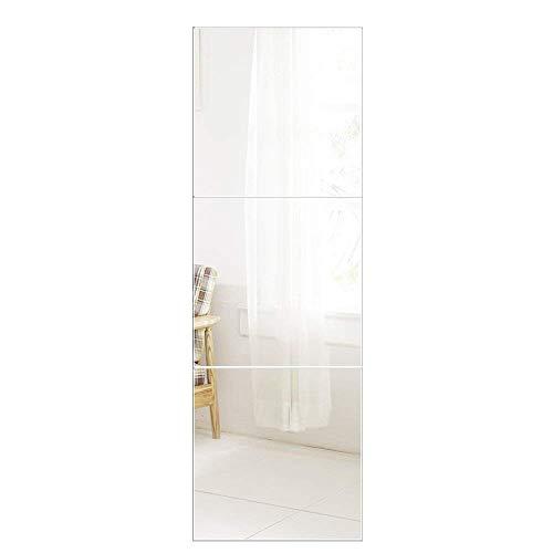 AUFHELLEN Wandspiegel 3 Stücke 40x40cm aus Glas Spiegel HD DIY Rahmenlos Spiegelfliesen an der Tür für Bad- oder Wohnzimmer (40x40cm, 3PCS)