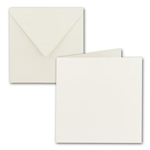 Quadratisches Falt-Karten-Set - 15 x 15 cm - mit Brief-Umschlägen - Naturweiss - 50 Stück - Nassklebung - für Grußkarten, Einladungen & mehr