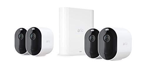 Arlo Pro3 Überwachungskamera & Alarmanlage, 2K UHD, 4er Set, Smart Home, kabellos, Innen/Außen, Farbnachtsicht, 160 Grad Blickwinkel, WLAN, 2-Wege Audio, Spotlight, Bewegungsmelder, (VMS4440P) - Weiß
