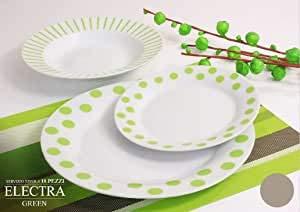 Argenti Preziosi Offerta Servizio Piatti Moderni da tavola Colorati Pois Verdi e Bianco in Ceramica per 6 Persone da 18 Pezzi