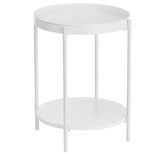 VASAGLE End Table, Side Table 2-Tier, Sofa Table with Movable Tray, Coffee Table, Steel Frame, Modern Style, for Living Room, Bedroom, White ULET221W10