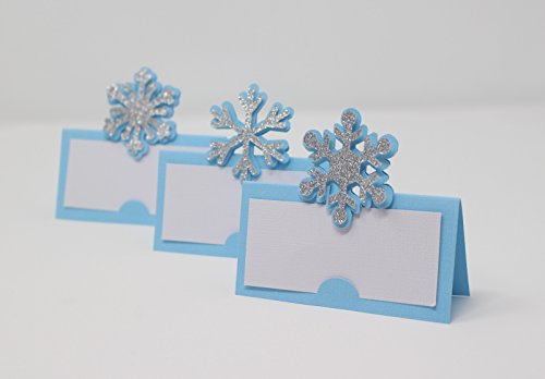 All About Details Snowflakes Place Cards (Light Blue & Silver)