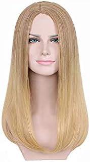 شعر مستعار صناعي جميل للنساء طويل بلون اصفر فاتح متدرج - قطعة ملحقة للاستخدامات الخاصة بالموضة والاناقة والتنكر