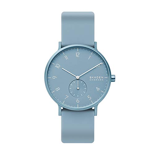 Skagen Men's Aaren Kulor Quartz Silicone Watch Color: Light Blue, 41 (Model: SKW6509)