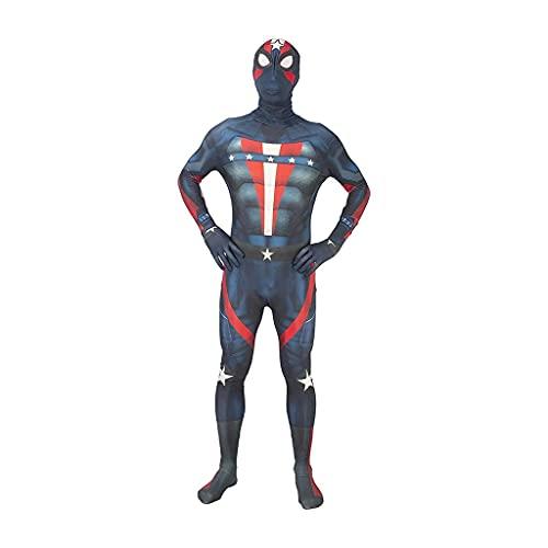 ZDVHM Disfraz de Spiderman de polica para nios y adultos, anime superhroe, disfraz de cosplay para Halloween, carnaval, fiesta, accesorios de rendimiento (color azul, tamao: adulto L 165 ~ 170 cm)