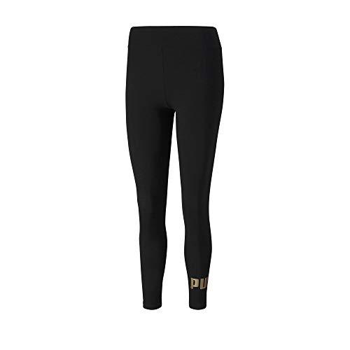 PUMA Damen ESS Logo Leggings Black-Gold, XS
