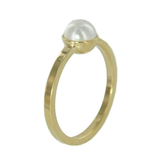 Skagen Damen Ring Gold Perle Weiss JRSG035, Größe:S7 (17.3 mm Ø)