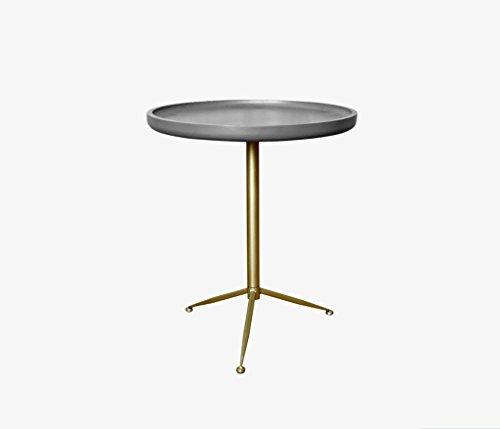 Lzz Salon américain Minimaliste Petit thé Table Table Basse canapé côté Rond Moderne Imitation Ciment Mini Table d'appoint Taille: 39.5 * 46 cm