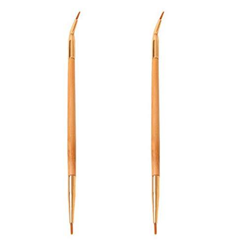 2 Pièces Eyeliner Pinceau Laine Eyeliner Double Applicateur Tête Bent Et Droites Eye Brus Jaune