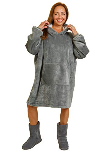 Ethicked Super Comfy Wearable Blanket Sweatshirt Sherpa Hoodie Oversized with Large Pocket Fluffy and Cozy Hoodie Pullover Fleece Lined Plush and Breathable Comfort for Kids and Adults Gray