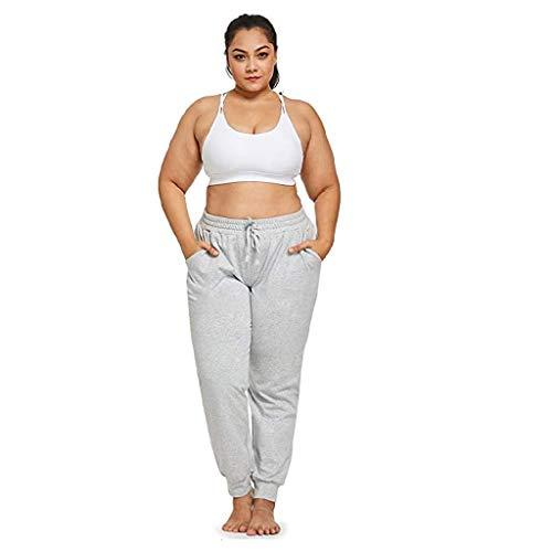 DAY8 Pantalon Sport Femme Grande Taille Taille Haute Coton Pantalons Femme Chic Et Elegant Ventre Plat Moderne Pas Cher Décontracté Fitness Yoga Running Survêtement (Blanc, XXXXXL)