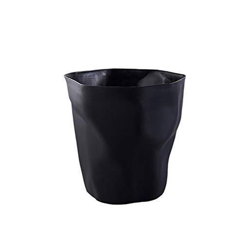 NUOBESTY bote de basura forma plisada cesta de papel de estilo nórdico papeleras papelera para baño cocina sala de estar dormitorio (negro)