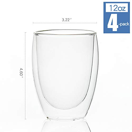 [4-Pack,12Oz] Glass Cups, Double Walled Thermo Espresso Glasses, Insulated Coffee Mugs, Drinking Glasses