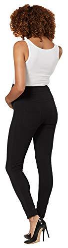HAPPY MAMA Femme Maternité Pantalon Joggeurs Longue Pantalon Taille Haute 1052 (Taille Courte Noir, 40-42, L)