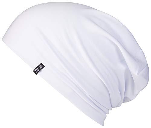 Enter the Complex® Leichte Jersey Mütze, Damen und Herren, Slouch Beanie aus Baumwolle, Elastisch, S/M, Snow White