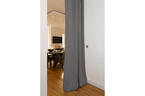 "Moondream 4-in-1 Room Divider Curtain with Sound-Blackout-Thermal Insulation, Patented Technology, 57"" W x 108"" L, Grey (Cloud MC09), Grommet, 1 Panel"