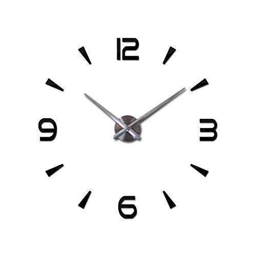Acryl Spiegel Wandklok, Modern Mute DIY 3D Frameless Grote Wandklok Metalen Sticker Verwijderbare Grote Horloge Decal Home Office Decoratie (Zwart)