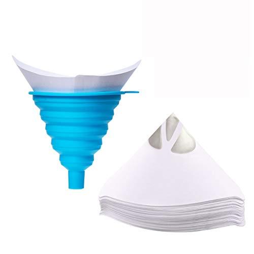 Jeteven Strainer Cone Silicone Funnel Filter Tip Cone Shaped Fine Nylon Mesh Funnel W/Hooks Disposable (100pcs with 1pcs Silicone Funnel Filter)