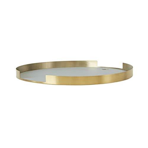 OYOY Living Oka Tray Brass Tablett Dekoschale Rund Mit Rand Messing Silikon 32,5x1,8 cm - LITAB1100641-904