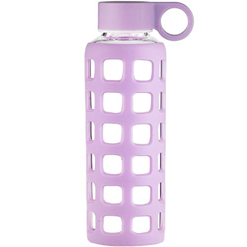 ORIGIN Best BPA-Free Borosilicate Glass Water Bottle With Fun Square Window Silicone Sleeve and Leak Proof Lid - Dishwasher Safe (Pale Purple, 12 Oz)