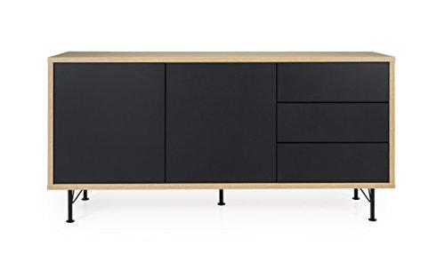 tenzo 2875-682 FLOW Designer Buffet 2 portes, 3 tiroirs, Structure particules mélaminé chêne. Façades : panneaux MDF mat. Pieds en acier laqué noir, 79 x 164 x 44 cm (HxLxP)