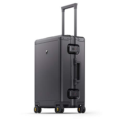 LEVEL8 Maleta de Viaje de Aluminio, Maletas de Cabina 20' rígido, Equipaje de Mano Trolley rigida con 4 Ruedas giratorias 360º y Candado TSA, 56cm, 35,5L, Gris