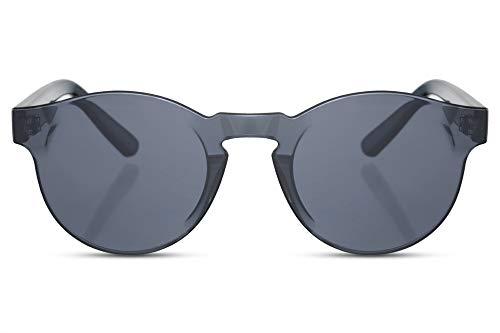 Preisvergleich Produktbild Cheapass Sonnenbrille Rund Schwarz UV-400 Rahmenlos Flach Durchgehend Flat Plastik Damen Herren