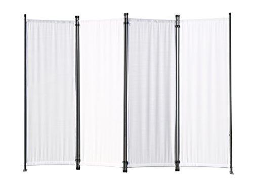 Angel Living Biombo Separador de 4 Paneles, Decoración Elegante, Separador de Ambientes Plegable, Divisor de Habitaciones, 225X165 cm (Blanco)