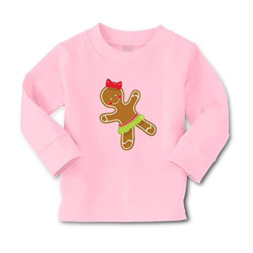 Cute Rascals Kids Long Sleeve T Shirt Gingerbread Cookie Girl Cotton Boy & Girl Clothes Funny Graphic Tee Soft Pink Design Only 4T