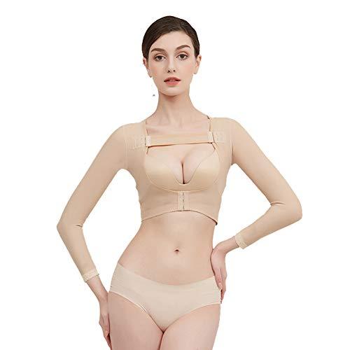 Jolie Manga Larga Talladora del Brazo para Mujeres postquirúrgico compresión Mangas Empuje hacia Arriba el Pecho Tops Corrector de Postura Fajas,Beige,S