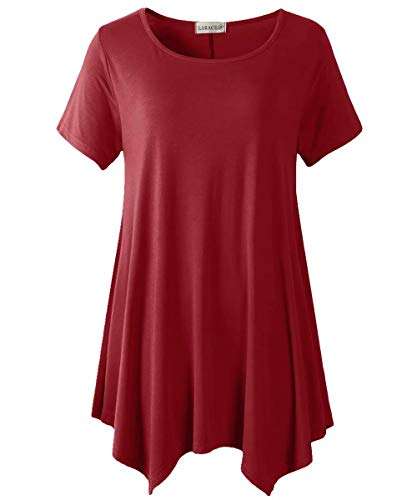 LARACE Womens Swing Tunic Tops Loose Fit Comfy Flattering T Shirt Wine Red