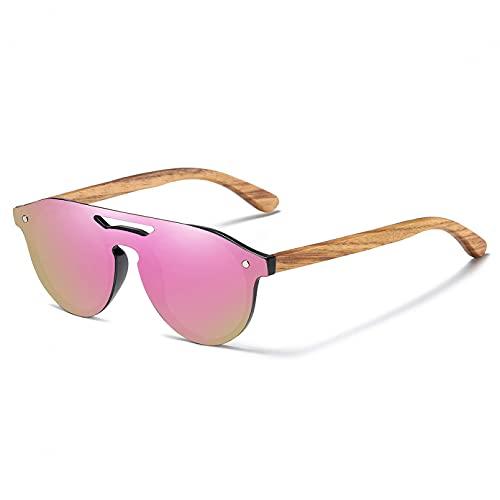 YDDLIE Gafas universales para mujer Gafas de sol polarizadas de madera natural de cebra Gafas de sol ecológicas originales de moda Gafas de sol de bambú