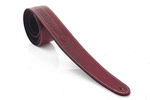 Groove UK-Made Real Leather Celtic Running Dog Designer 2' Width Guitar Strap - Red