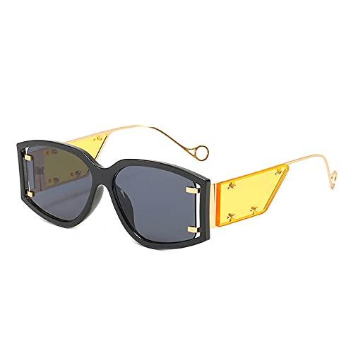 WANGZX Gafas De Sol Cuadradas De Gran Tamaño A La Moda para Mujer Gafas Graduadas con Remaches Retro Gafas De Sol para Hombre Uv400 como En La Imagen
