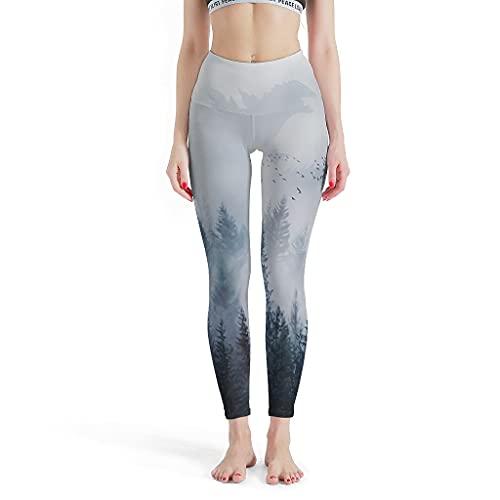 Dessionop Leggings de yoga con control de abdomen, para mujeres, con niebla, bosque, pájaros, presión blanco XXXXL