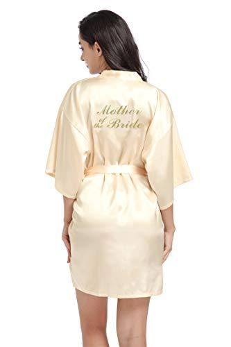 DF-deals Damen Satin Kimono Bademantel für Brautjungfer und Braut Hochzeit Party bereit Kurzer Bademantel mit Gold-Glitzer - Gelb - XXX-Large = US Größe 16-18